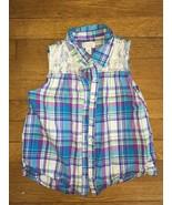 * childrens Place blue purple plaid button down tank top Medium 7 - 8 girl - $3.96