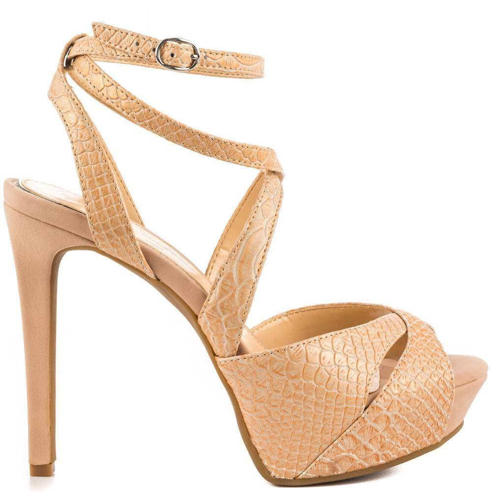 Primary image for Women's Shoes Jessica Simpson FINLAY Platform Heels Sandals Powder Nude Snake