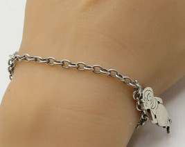 925 Sterling Silver - Vintage Abstract Engraved Date Girl Charm Bracelet - B2049 - $86.26