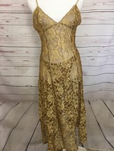 Victorias Secret Night Gown & Matching Panties Gold Lace Sexy Woman's Me... - $50.47