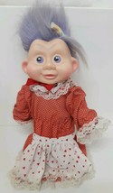 "Applause #46 Magic Trolls 12"" Vtg White Red Heart Dress Lace Purple Hair... - $39.59"