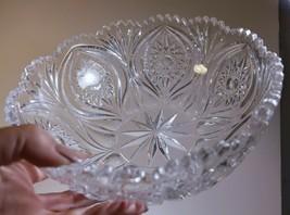Vintage Lead Crystal Cut Facetted Diamond Sawtooth Bowl Eye Winker Weddi... - $10.39
