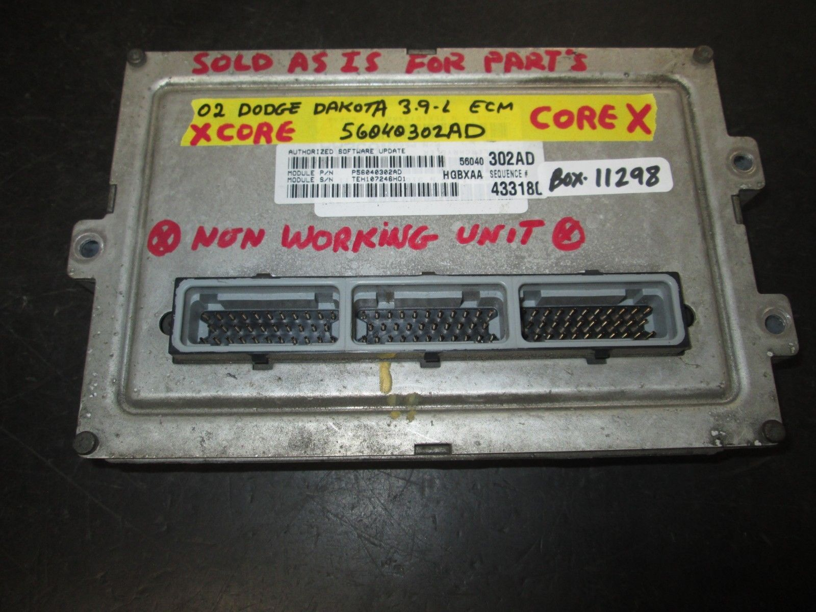 Primary image for 02 DODGE DAKOTA 3.9L ECM #56040302AD SOLD AS IS