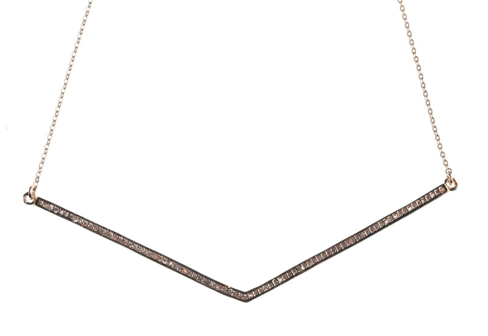 NEW Edison 14K Gold-Plated Pave Cubic Zirconia Crystal Chevron V-Bar Necklace