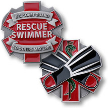 "UNITED STATES COAST GUARD RESCUE SWIMMER 1.75"" CHALLENGE COIN - $18.99"