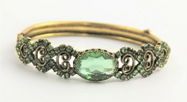 VINTAGE Jewelry VICTORIAN REVIVAL GREEN RHINESTONE SCROLL HINGED BANGLE ... - $25.00