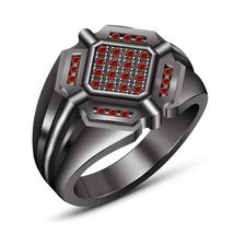 Rhodium Finish 925 Sterling Silver Red Garnet Wedding Engagement Batman ... - $98.99