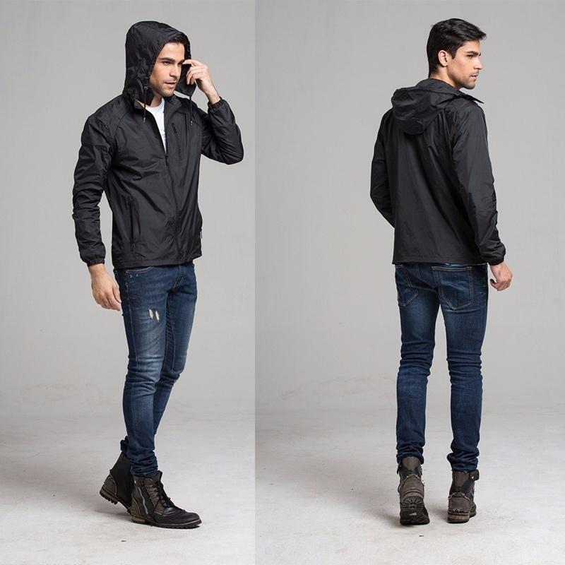 Men Fashion Sportswear Thin Windbreaker Zipper Coats Outwear Hooded Jackets