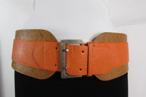 Damen Beige Orange West Kunstleder Elastisch Breit Modischer Gürtel Hüfte Taille