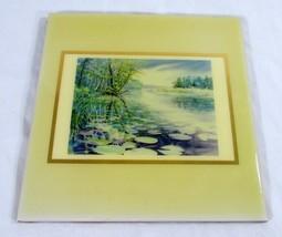 Jan Vandenbrink Decorative Ceramic Tile Crooked River Inland Waterway Al... - $44.55