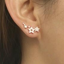 Simple Stylish Star Women Drop Earrings Shiny White Zircon Exquisite Ver... - $13.02