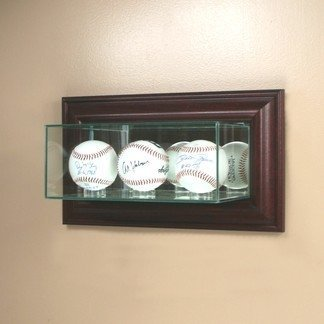 Perfect Cases Wall Mounted Glass Triple Baseball Display Case with Mirror