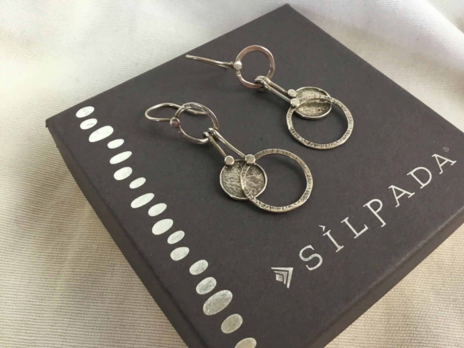 Primary image for Silpada Oxidized Sterling Silver Double Circle Dangle Disc Earrings W1549