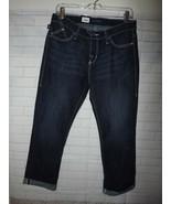 Ladies Capri Jeans Size 10 Dark Wash Denim Low Rise Slim Hip & Thigh Emb... - $24.16