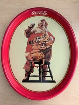 """Vintage 1987 Coca Cola Santa Tin Serving Tray - 15"""" x 12"""" Oval - $8.91"""