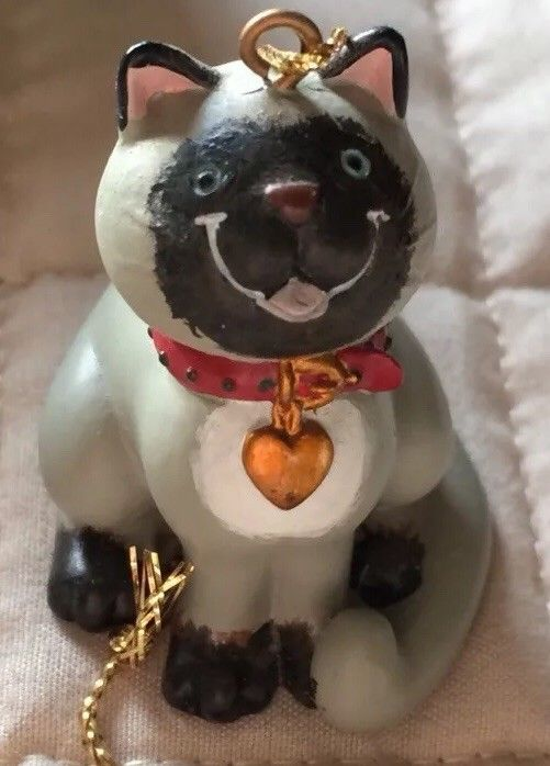 Primary image for Russ Berrie Wags to Whiskers Black and White Grey Cat Christmas Ornament