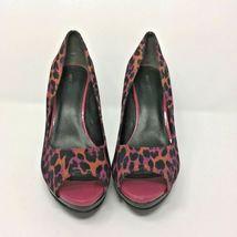 Nine West Open Toe Heel, Size 9, Animal Print, Fushia, Orange, Black image 3