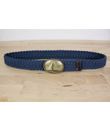 J. Crew Woven Belt Brass Sailboat Buckle Leather Tabs Women's Size S/M 3... - $19.59