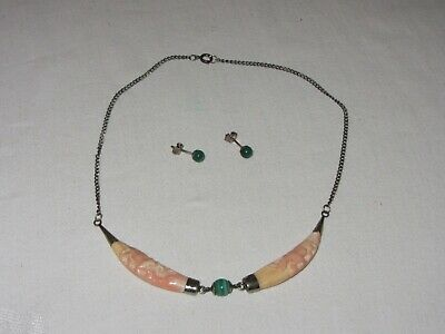 Vtg Necklace Carved Pink Coral Rhino Image & Malachite w Pierced Post Earrings
