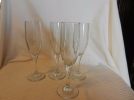 "Set of Four Clear Crystal Champagne Flutes Glasses 8"" Tall - $59.39"