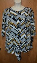 Womens Brown Gray Geometric Alfani 3/4 Sleeve Shirt Size 1X NEW NWT - $7.61