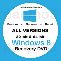WINDOWS 8 PROFESSIONAL 64 Recovery Install Reinstall Boot Restore DVD Di... - $7.99