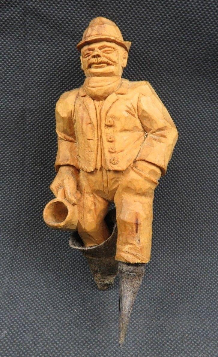 Antique 1900 German Black Forest Carved Wood Figural real Horns Hook Rack