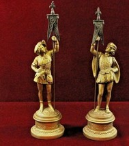 Pair Gilded Knights   Vintage  Statues Holding  Banner Flags - $225.00