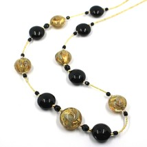 """LONG NECKLACE BLACK YELLOW MURANO GLASS DISC GOLD LEAF, 70cm, 27.5"""" ITALY MADE image 2"""