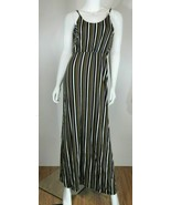 ALL IN FAVOR  Spaghetti Strap Taupe Striped Maxi Dress, Size M, Pre-owned - $38.99