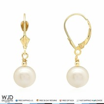 14k Solid Yellow Gold Freshwater Pearl Dangle Leverback Earrings 9mm - $110.00