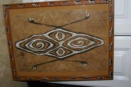 Rare Framed Tapa Kapa Sentani Bark Cloth Unique Abstract Painting DFBA2 ... - $237.49