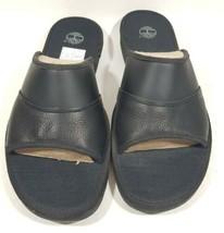 Timberland Sandals Mens Ammon Slide Black Leather 49524 Comfort Open Toe... - $49.99