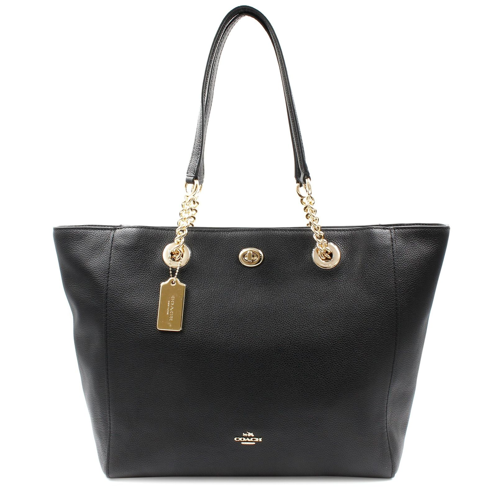 Primary image for Coach Pebbled Turnlock Chain Black Leather Tote Womens Bag 56830