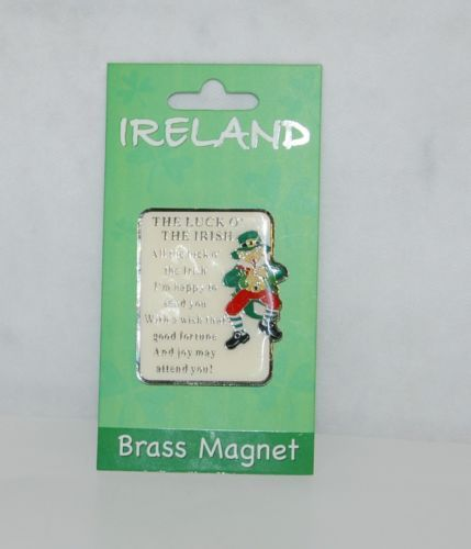 Allied Imports 4771 Brass Magnet The Luck O Irish Poem Leprechaun