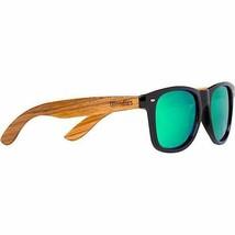 Woodies Zebra Wood Sunglasses With Green Mirror Polarized Lenses - $43.99