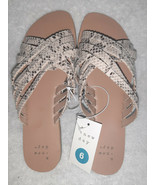 A New Day Women's Laila Crossband Strappy Slide Sandals Slip On Gray 6 NWT - $14.80