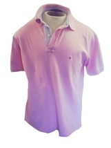 Tommy Hilfiger Mens Pink Polo Shirt Size Large Contrast Placket Flag Logo L - £19.58 GBP