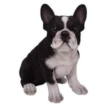 Realistic Look Black White French Bulldog Puppy Dog Home Decorative Figu... - $24.74