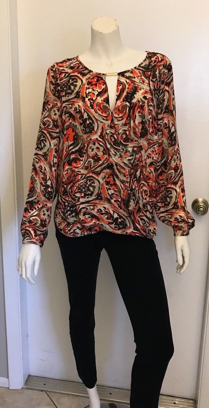 Authentic Michael Kors Blouse Top Shirt Orange Tan Black Size 6 NWT $130