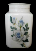 Vintage Opaque White Canister with Blue Roses Gold Stripe 7 5/8 in. tall... - $20.78