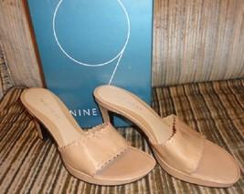 new nine west merrick sandals / heels size 7 M medium dark natural leather - €26,33 EUR