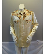 Vintage Western Shirt - Gold Polyster with Floral Pattern by Bronco - Me... - $125.00