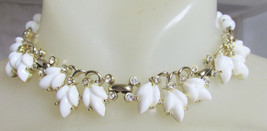 "Vintage Bogoff Molded White Glass Leaves Beads 15.5"" Choker Necklace Signed - $31.50"
