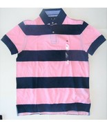 Tommy Hilfiger Mens Polo Shirt Striped Pink Blue Size Small NWT - $38.79