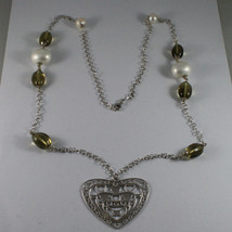 .925 SILVER RHODIUM NECKLACE WITH WHITE PEARLS, SMOKY QUARTZ AND HEART PENDANT image 2