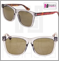 GUCCI 0057 Classic Square Transparent Grey Havana Sunglasses GG0057 Vintage - $264.33