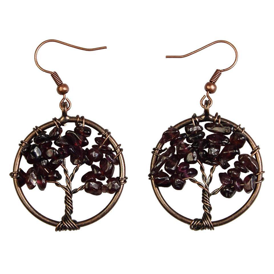 Amethyst Chip Tree of Life Earrings