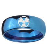 8mm Radiation Dome Blue Tungsten Carbide Men's Engagement Ring - $39.99
