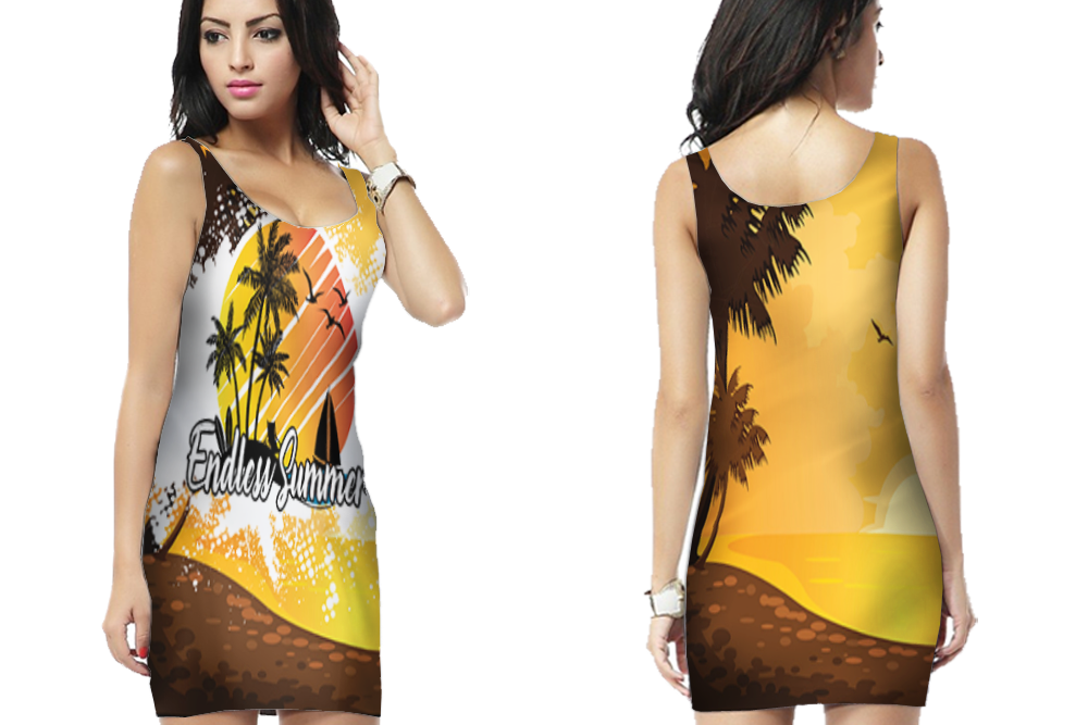 Tropical Surfing Bodycon Dress For Women